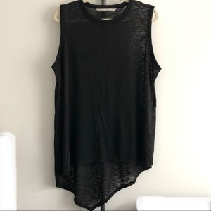 Rachel Roy Asymmetric Hem Black Knit Tank Top